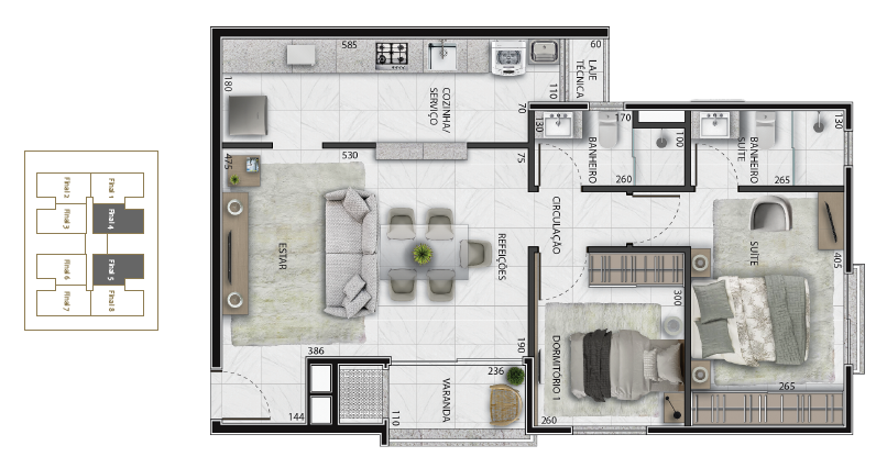 Apartamento 70 m²
